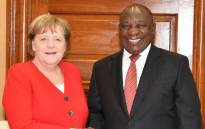 President Cyril Ramaphosa and German Chancellor Angela Merkel having tête-à-tête on 6 February 2020 ahead of the official talks between the two leaders at the Union Buildings in Tshwane. Picture: @PresidencyZA/Twitter
