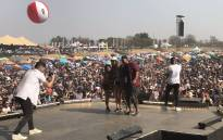 Mi Casa and some fans on stage during the Huawei Joburg Day. Picture: @947BClub.
