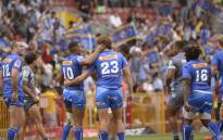 Stormers' players celebrate after beating the Hurricanes at the end of the Super Rugby match against the Hurricanes at Newlands Stadium on 1 February 2020, in Cape Town. Picture: AFP