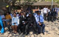 Police Minister Bheki Cele attended a memorial service held at the Rippon Primary School in KwaZulu-Natal where slain nine-year-old Miguel Louw was in grade four. Picture: @SAPoliceService/Twitter