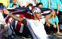 Lewis Hamilton celebrates his 6th driver's championship after finishing second in the US Formula One Grand Prix in Austin, Texas on 3 November 2019. Picture: AFP
