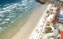 An aerial view of Muizenberg Beach in Cape Town. Picture: Kaylynn Palm/EWN.