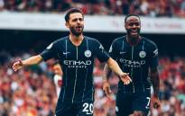 Bernardo Silva and Raheem Sterling celebrate Manchester City's second goal against Arsenal in their opening games of the new campaign. Picture: @ManCity/Twitter.