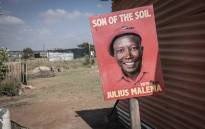 FILE: An election campaign poster of EFF leader Julius Malema in Juju valley informal settlement. Picture: Abigail Javier/EWN