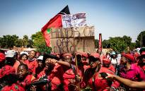 EFF supporters gathered at the Randburg Magistrates Court on 29 October 2020 for the second day in support of their leader Julius Malema and EFF MP Mbuyiseni Ndlozi.  Picture: Xanderleigh Dookey/EWN