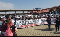 Protesters, gathering at Mary Fitzgerald Square in Newtown, are calling for the removal of former health MECs Brian Hlongwa and Brian Mahlangu. Picture: EWN