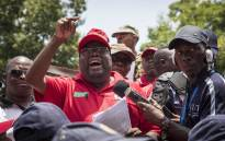 Sadtu leadership addressing protesters before handing over a memorandum to the school governing body of Hoërskool Overvaal on 25 January 2018. Picture: Thomas Holder/EWN
