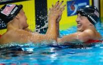 FILE: Katie Ledecky (R) and Cierra Runge (L) of the US. Picture: AFP/ PATRICK HAMILTON.