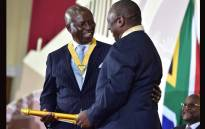 Former Deputy Chief Justice Digkang Moseneke received the National Orders Award from President Cyril Ramaphosa. Picture: GCIS.