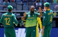 Proteas players celebrate the fall of a wicket. Picture: @OfficialCSA/Twitter