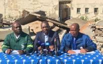 Tshwane mayor Solly Msimanga (left), DA leader Mmusi Maimane (centre), and Johannesburg mayor Herman Mashaba briefed the media in the Johannesburg. Picture: Twitter/@Our_DA