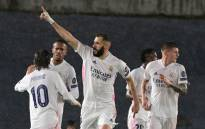 Real Madrid forward Karim Benzema celebrates after scoring during the UEFA Champions League semifinal first leg football match between Real Madrid and Chelsea at the Alfredo di Stefano stadium in Valdebebas, on the outskirts of Madrid, on 27 April 2021. Picture: Javier Soriano/AFP
