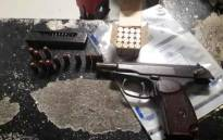 An unlicensed firearm and ammunition that was confiscated by Cape Town police on 15 May. Picture: SAPS.