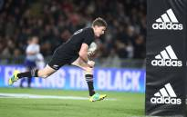 FILE: New Zealand's Beauden Barrett goes over for a try against Australia in their Rugby Championship match in Auckland, New Zealand on 25 August 2018. Picture: @AllBlacks/Twitter
