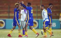 Wits players celebrate a goal during a Varsity Football match. Picture: @VarsityDiski/Twitter