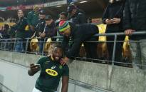 Springboks' Tendai 'Beast' Mtawarira celebrates with fans after their 36-34 victory over the All Blacks. Picture: @Springboks/Twitter.