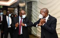 President Cyril Ramaphosa and Health Minister Zweli Mkhize celebrate the vaccine arrival on 1 February 2021. Picture: GCIS
