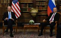 US President Joe Biden (L) and Russian President Vladimir Putin (R) pose for press ahead of the US-Russia summit at the Villa La Grange, in Geneva on 16 June 2021. Picture: Brendan Smialowski/AFP