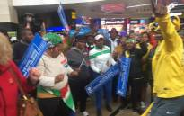 Team SA supporters at the OR Tambo International Airport on 20 September 2016. Picture: Kgothatso Mogale/EWN.