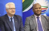 Alan Winde (left) and Dan Plato (right) at the DA press briefing on its candidate for the Western Cape premier on 19 September 2018. Picture: Cindy Archillies/EWN