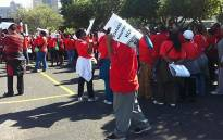 Sadtu members gather in Cape Town for the march against Basic Education Minister Angie Motshekga on 24 April 2013. Picture: Carmel Loggenberg/EWN