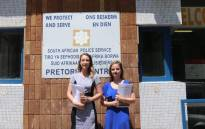 AfriForum's Monique Taute and Natasha Venter lay a criminal complaint against the  City of Tshwane Metropolitan Municipality on 7 October 2019. Picture: @afriforum/Twitter