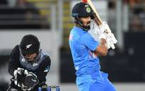 India's Lokesh Rahul get the ball away in the first Twenty20 match against New Zealand in Auckland on 24 January 2020. Picture: @BCCI/Twitter