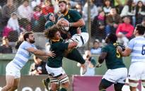 FILE: South Africa's Duane Vermeulen fields a high ball during the Rugby Chmapionship match against Argentina in Salta on 10 August 2019. Picture: @Springboks/Twitter