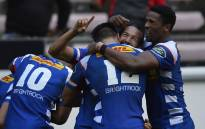 FILE: Stormers players celebrate try. Picture: @THESTORMERS/Twitter