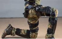 A screengrab of an exoskeleton proposed for use by US soldiers.