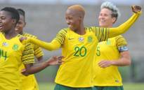 Banyana Banyana players celebrate during a Cosafa Women's Championship match against Malawi, where they won 3-1. Picture: @Banyana_Banyana/Twitter.