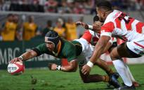 South Africa's Cheslin Kolbe (L) scores a try during the friendly rugby match between Japan and South Africa at the Kumagaya Rugby Stadium in Kumagaya on 6 September 2019. Picture: AFP