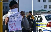 A demonstrator at a protest in front of Parliament against the 'Marikana massacre' on 17 August 2012. Picture: Aletta Gardner/EWN