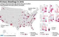 Map and calendar detailing mass shootings in the US since January 2019 that have resulted in at least 4 people being killed or wounded. Picture: AFP