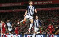 West Bromwich Albion's Craig Dawson celebrates scoring a goal against Liverpool. Picture: @WBA/Twitter.