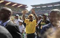 President Cyril Ramaphosa makes his way around the stadium before his speech at the Ellis Park Stadium in Johannesburg for the Siyanqoba Rally. Picture: Thomas Holder/EWN.