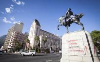 The Louis Botha statue outside of Parliament in Cape Town was defaced with red and purple paint in the early hours of 9 April. Picture: Thomas Holder/EWN