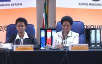 A screengrab of retired Constitutional Court Justice Yvonne Mokgoro (right) chairing the inquiry into NPA advocates Nomgcobo Jiba and Lawrence Mrwebi's fitness to hold office on 21 January 2019.