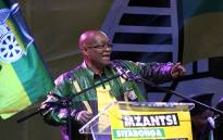 """President Jacob Zuma addressed hundreds of supporters at the ANC's celebration party in the Johannesburg CBD on 10 May 2014 following the party's national election victory. Picture: Reinart Toerien/EWN"""""""