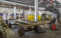 A giant skateboard stands in the Cape Town carnival workshop, where the team assembles and builds the various floats that will feature in the 2016 event. Picture: Aletta Harrison/EWN