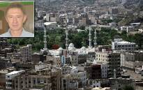 Pierre Korkie is being held hostage by al-Qaeda militants in the Yemeni city of Taiz. Main picture: AFP. Inset picture: Supplied.