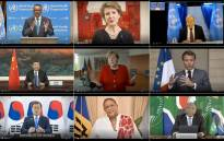 This combination created of nine video grabs taken on 18 May 2020 from the website of the World Health Organisation shows (top to bottom, L-R) WHO Director-General Tedros Adhanom Ghebreyesus, Swiss President Simonetta Sommaruga, UN Secretary-General Antonio Guterres, Chinese President Xi Jinping, German Chancellor Angela Merkel, French President Emmanuel Macron, South Korean President Moon Jae-in, Barbados Prime Minister Mia Mottley and South African President Cyril Ramaphosa delivering their speech via video link at the opening of the World Health Assembly virtual meeting from the WHO headquarters in Geneva, amid the COVID-19 pandemic, caused by the novel coronavirus. Picture: AFP