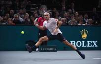 Roger Federer in action during a Paris Masters semifinal match against Novak Djokovic. Picture: @RolexPMasters/Twitter.