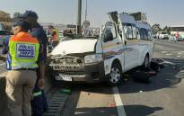 Nine people were killed and four others were injured on Sunday 18 August 2019 in a taxi accident at the Buccleuch Interchange, Johannesburg. Picture: @AsktheChiefJMPD/Twitter.