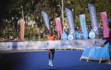 Cape Town marathon winner Stephen Mokoka crosses the finish line. Picture: Cindy Archillies/EWN