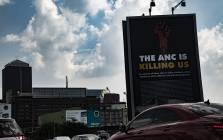 Vandalised DA billboard in Johannesburg. Picture: Kayleen Morgan/EWN