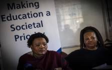 Gauteng Community Safety MEC Sizakele Nkosi-Malobane briefs the media at Unity High School. Picture: Kayleen Morgan/EWN