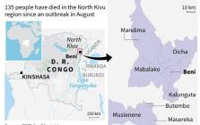 A map of the Democratic Republic of the Congo shows the areas most affected by an Ebola outbreak that started in August. Picture: AFP