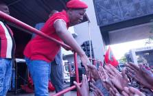 EFF leader Julius Malema speaking outside of the state capture inquiry in Parktown on 20 November 2018. Picture: @EFFSouthAfrica/Twitter.