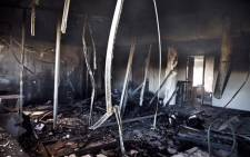 The Mmabana Arts and Cultural Centre in Mahikeng has been gutted in a fire during protests in the area. According to locals, many artists such as Cassper Nyovest have learned and performed at the centre. Picture: Ihsaan Haffejee/EWN
